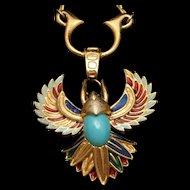 Jomaz Thunderbird Phoenix Brooch Pin Pendant Necklace Combo Enamel Vintage Egyptian Revival