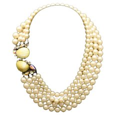 Schiaparelli 4-Strand Yellow Tinted Imitation Pearls with Shell Clasp Vintage