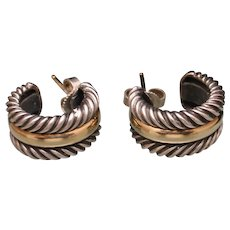 Yurman Hoop Earrings Combo Sterling Silver 14k Yellow Gold