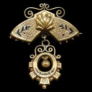 Victorian Gold Filled Pin with Dangle Taille d'Epargne Antique