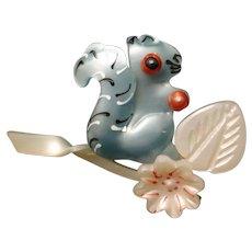 Squirrel Brooch Pin Vintage Lightweight Plastic Figural