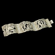 Heavy Scenic Bracelet Classical Images Vintage Italy Cast Metal