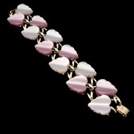 Corocraft Double Row Bracelet Mauve and Periwinkle Thermoset Vintage