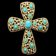 Trifari Jeweled Cross Pendant Vintage Large