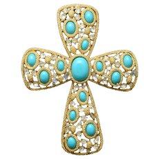 Trifari Jeweled Cross Pendant Vintage Large