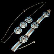 Norne Aksel Holmsen Norway Bracelet Necklace Set Sterling Silver Enamel Vintage