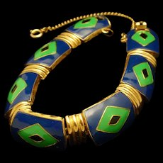 Eisenberg Enamel Bracelet Blue Green Enamel Vintage
