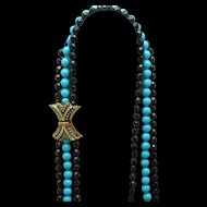 Triple Strand Necklace Black Aqua with Beaded Clasp Vintage