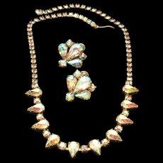 Weiss Necklace Earrings Set Vintage Aurora Borealis AB Rhinestones