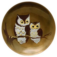 Owl Dish Enamel over Copper by Bovano