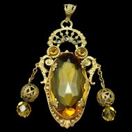 Detailed Ornate Pendant Topaz Rhinestone Chain Dangles Vintage