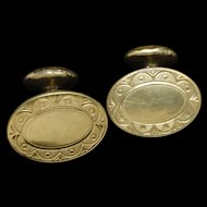 Krementz Gold Plated Cuff Links Oval Fixed Backs Vintage