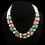 3 Color 2 Strand Necklace Vintage