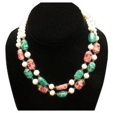 3 Color 2 Strand Necklace Vintage