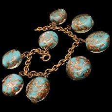 Aventurine Glass Charm Nugget Bracelet Vintage