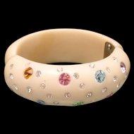 Hinged Clamper Bracelet Pastel Rhinestones