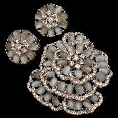 Blue Moonstones Flower Pin & Earrings Set Vintage MCJ