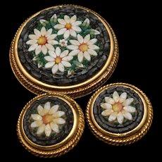 Italy Mosaic Pin & Earrings Set Vintage Daisy Flower