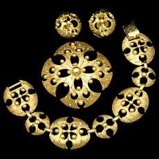 Bracelet Pin Earrings Mod Set Vintage
