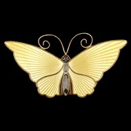 David Andersen Butterfly Pin Sterling Silver Enamel Norway
