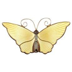 David Andersen Butterfly Pin Sterling Silver Enamel Norway