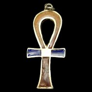 Ankh Charm Silver and Enamel Vintage Egyptian Revival