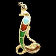 Asp Snake Charm Silver Enamel Egyptian Revival Vintage