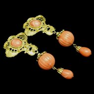 Jose Barrera for Avon Imitation Coral Drop Earrings