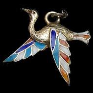 Bird Charm Silver Enamel Vintage