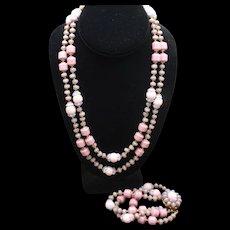 Miriam Haskell Set Vintage Necklace Bracelet Mauve Periwinkle