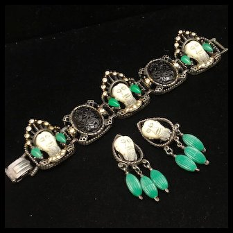 Selini Set Bracelet Earrings Black White Green Faces Rhinestones Vintage