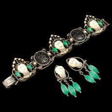 Selini Set Bracelet Earrings Black White Green Faces Rhinestones Vintage