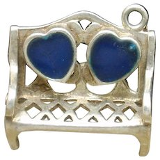 Lover's Bench Charm Sterling Silver Enamel