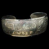 Elephant Cuff Bracelet Sterling Silver Vintage