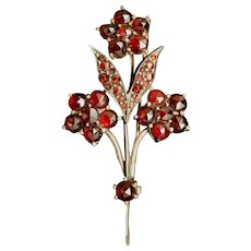 Victorian Bohemian Garnets Pin Flower Bouquet Vintage Antique