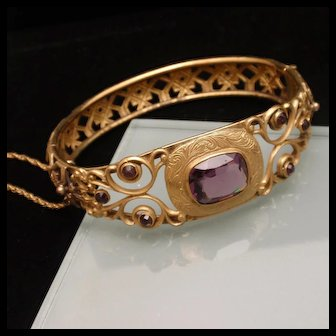 Vintage Open Work Hinged Bangle Bracelet Purple Stones JHP