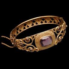 Vintage Open Work Hinged Bangle Bracelet Purple Stones JHP
