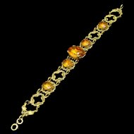 Vintage Bracelet with Open Work and Large Topaz Rhinestones