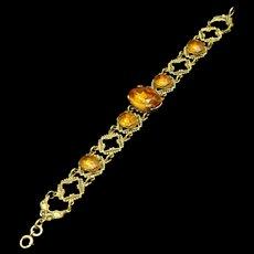 Vintage Bracelet with Open Work and Large Topaz Rhinestones