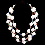 Triple Strand Fluted White Bead Necklace with Colorful Spacers Vintage West Germany