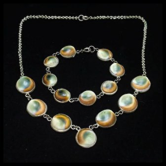 Operculum Necklace Bracelet Set Sterling Silver