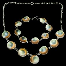 Operculum Necklace Bracelet Set Sterling Silver