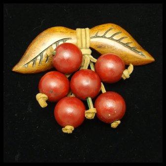 Wooden Cherries Pin Vintage Excellent Condition