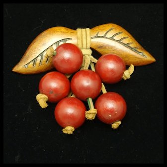 Wooden Cherries Pin Vintage Excellent Condition