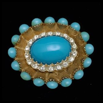 Rhinestone and Aqua Cabs Oval Brooch Pin Vintage by HAR