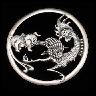 Dog and Rooster Pin Vintage Truart Sterling Silver Brooch