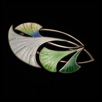 Flower Pin Sterling Silver Enamel