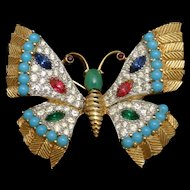 Jomaz Butterfly Pin Rhinestones and Cabs Vintage