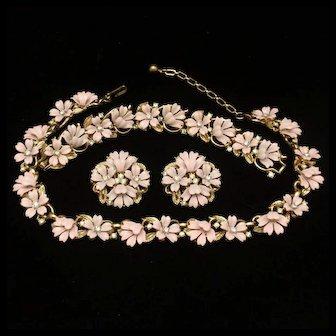 Pink Flowers Set Trifari Necklace Bracelet Earrings Vintage Enamel Rhinestones