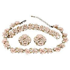 Pink Flowers Set Trifari Necklace Bracelet Earrings Vintage Enamel Rhinestones